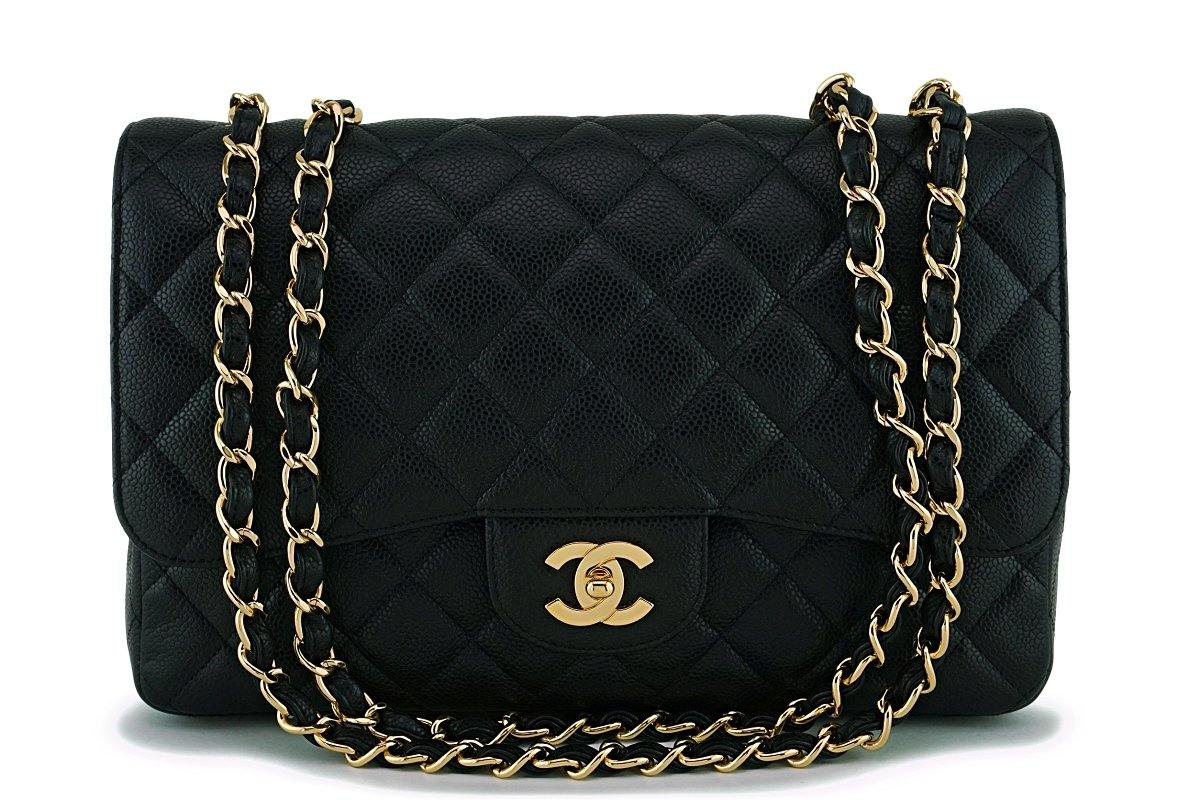 Chanel Black Caviar Classic Jumbo Flap Bag GHW