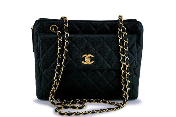 Chanel Vintage Caviar Classic Timeless Flap Tote Bag