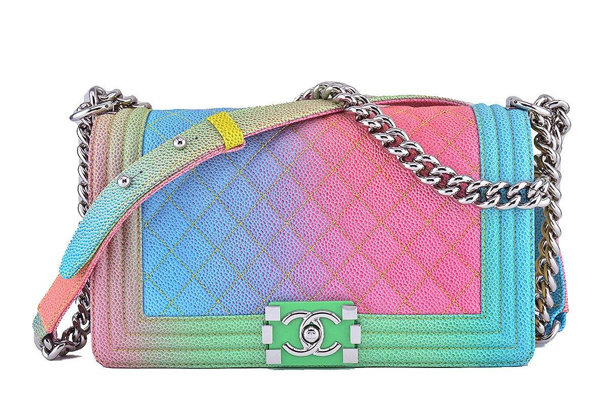 a2f0fc0a64f0 NWT 17C Chanel Boy Cuba Multicolor Rainbow Classic Flap, Medium Caviar