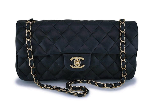 Chanel Black Lambskin East West Medium Classic Clutch Flap Bag 24k GHW