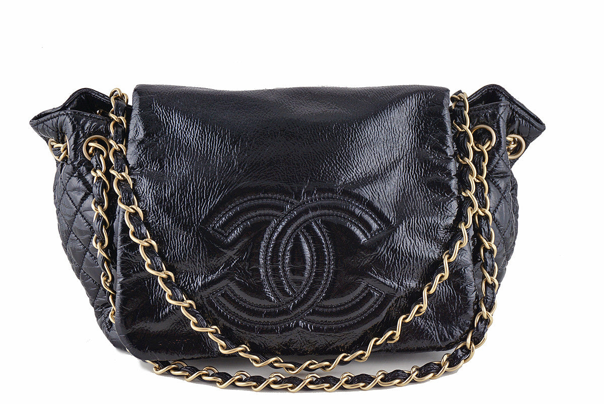 Chanel Black Jumbo Patent Rock & Chain Flap Bag - Boutique Patina  - 1
