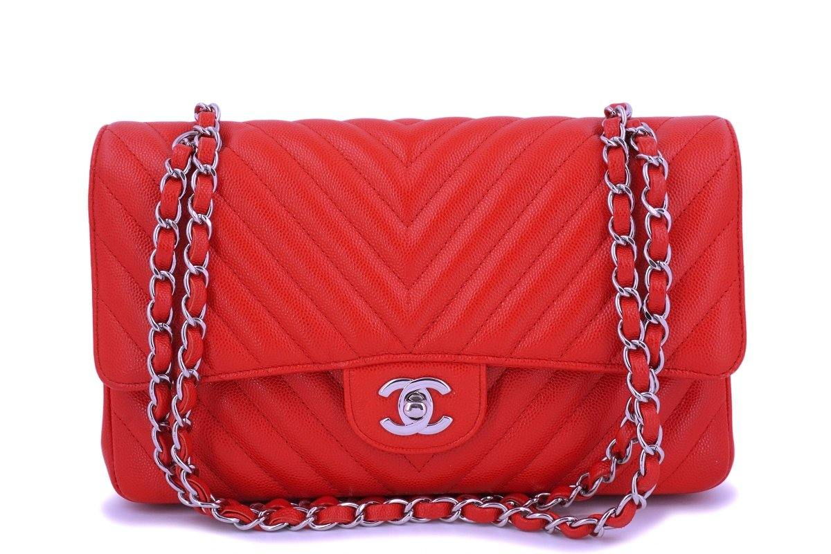 Chanel Red Caviar Medium Chevron Classic Double Flap Bag SHW