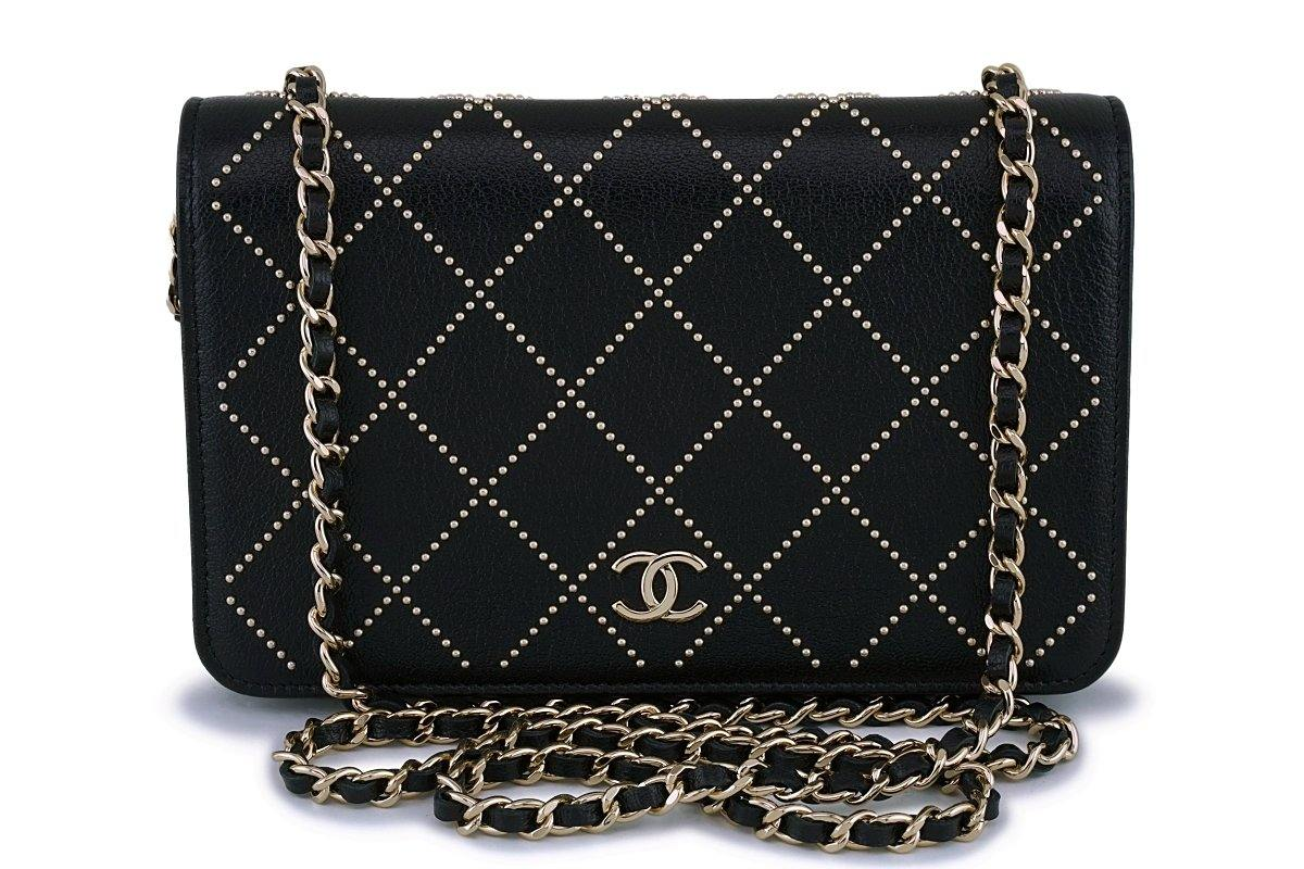 4f2c3c5ea4e5 NIB 19P Chanel Black Studded Goatskin Classic Wallet On Chain WOC Flap
