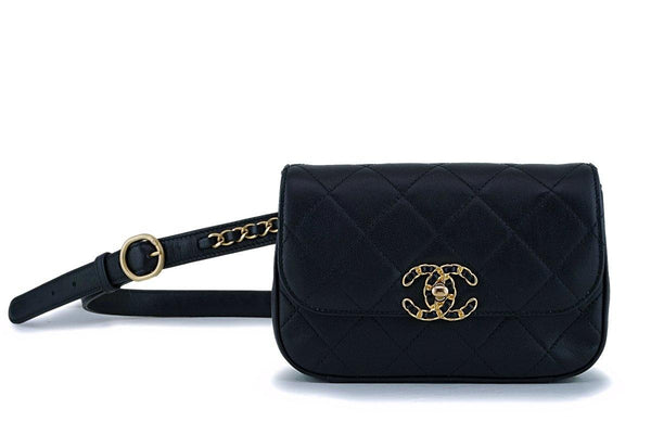 Chanel Black Quilted Infinity Woven Chain Waist Bag Fanny Pack GHW
