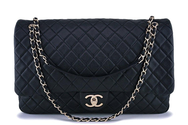 17S Chanel Black Ltd Airlines Runway Travel XXL Classic Flap Bag GHW