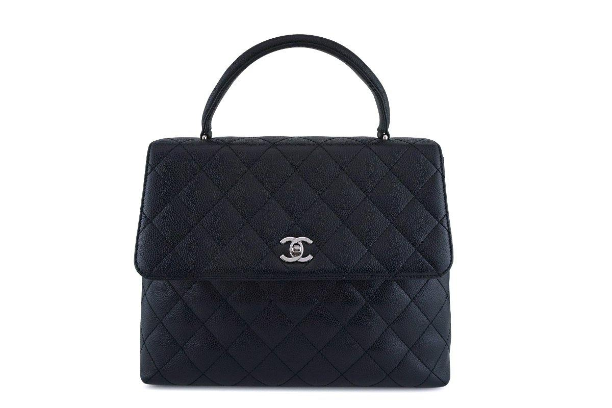 Chanel Black Caviar Classic Quilted Kelly Flap Bag SHW