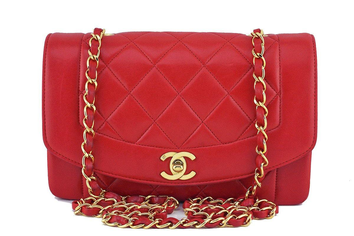 "Chanel Red Vintage Lambskin Quilted Classic ""Diana"" Shoulder Flap Bag"