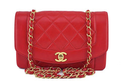 Chanel Red Vintage Lambskin Quilted Classic