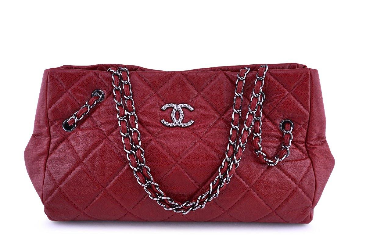 Chanel Red Soft Caviar Cells Quilted Shopper Tote Bag