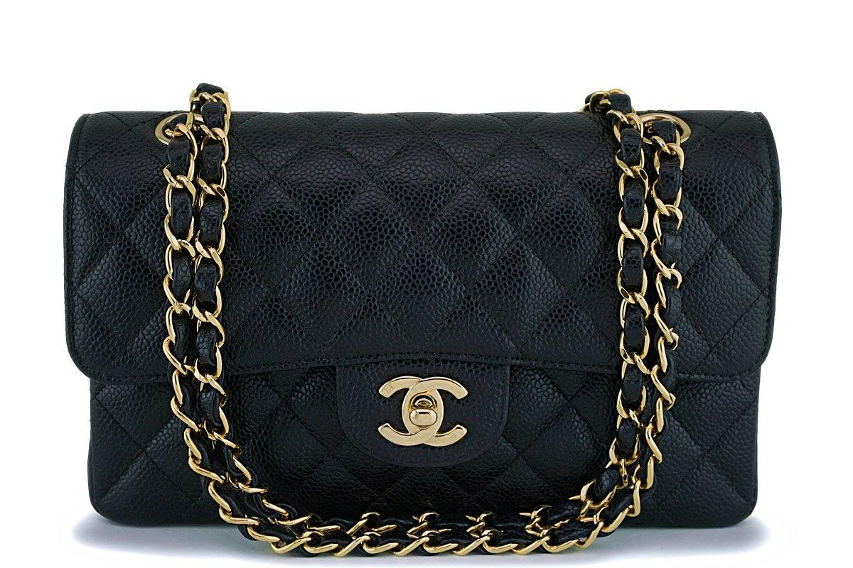 Chanel Black Caviar Small Classic Double Flap Bag 24k GHW - Boutique Patina