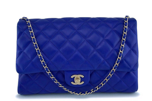 Chanel Electric Blue Roi Quilted Classic Clutch with Chain Flap Bag GHW dcb6da041e8ed