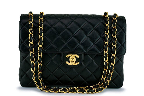 Chanel Black Lambskin Jumbo Quilted Classic 2.55 Flap Bag 24k GHW