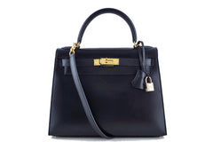 Hermes Black 28cm Box calf Kelly Sellier Bag - Boutique Patina  - 1