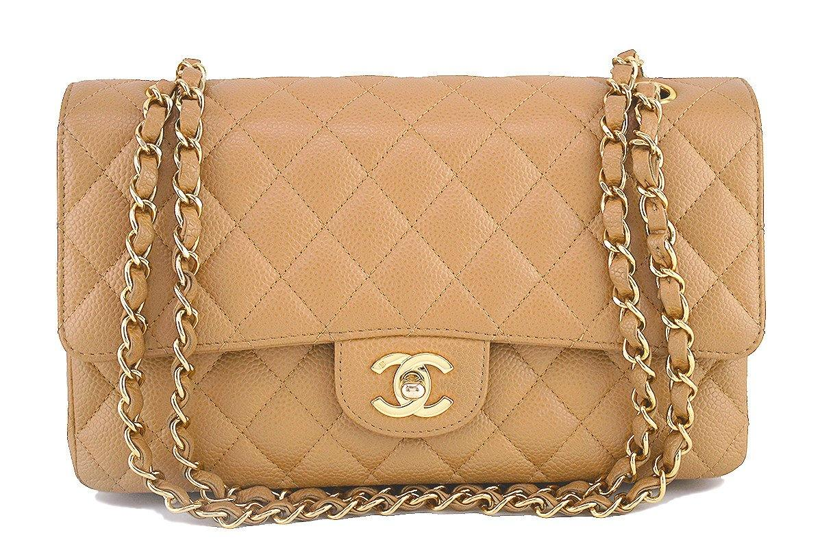b7039ed5513f Chanel Camel Beige Caviar Medium Classic 2.55 Double Flap Bag ...