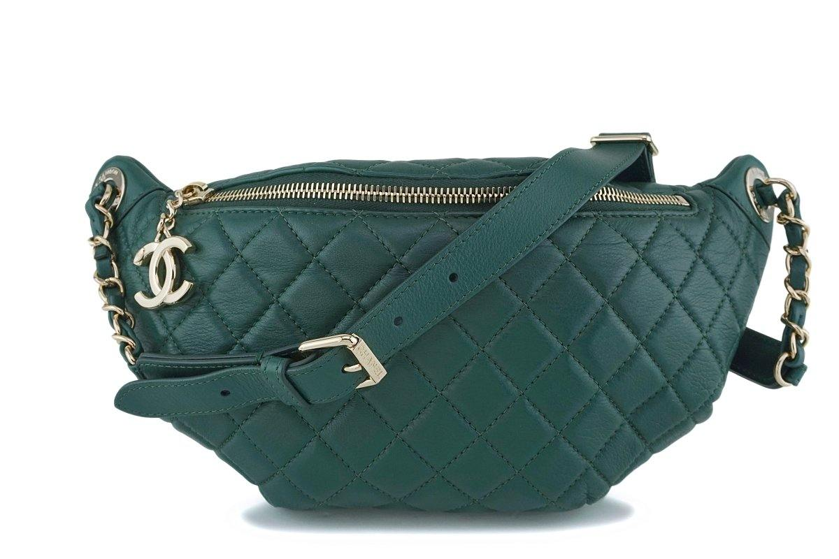 18K Chanel Emerald Green Classic Banane Fanny Pack Belt Bag GHW - Boutique Patina