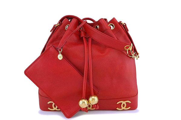 Chanel Vintage Red Caviar CC Drawstring Bucket Bag 24k GHW