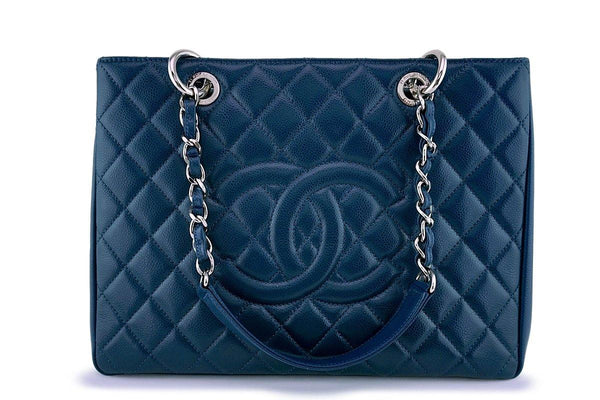Chanel Blue Caviar Grand Shopper Tote GST Bag SHW