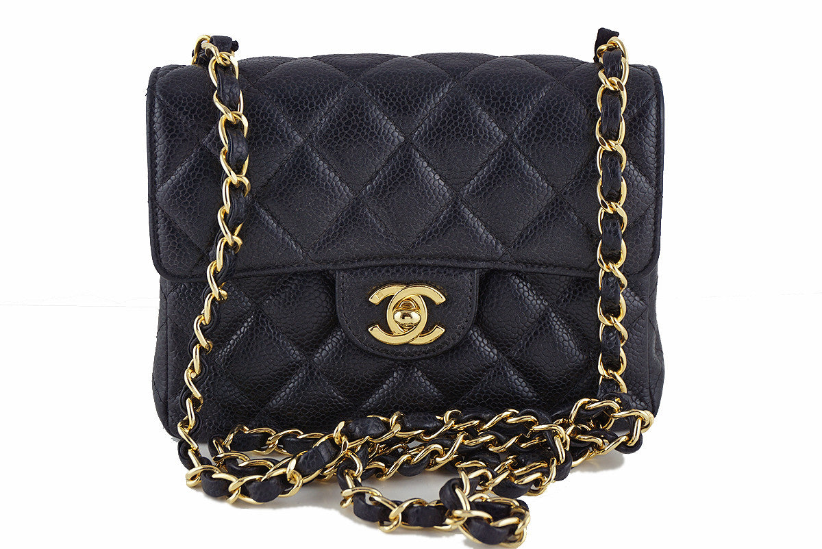 Chanel Caviar Mini Flap, Black Classic 2.55 Bag - Boutique Patina  - 1
