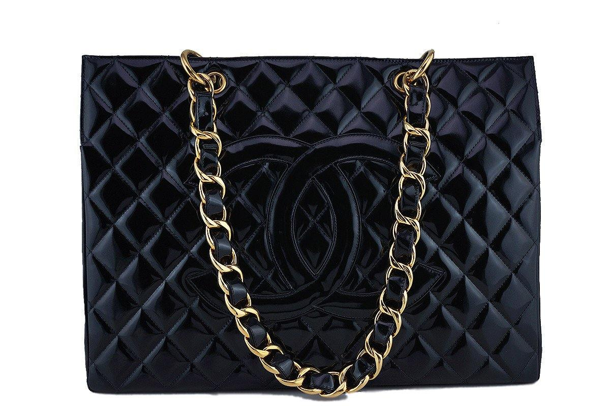 Chanel Black Patent Vintage Grand Shopper Tote GST Chunky Chain Bag - Boutique Patina  - 1