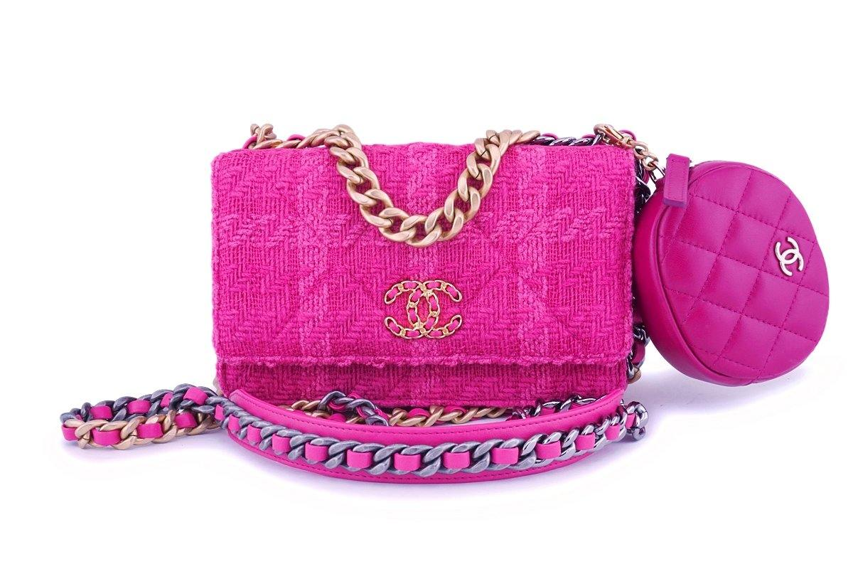NIB 19K Chanel 19 Fuchsia Pink Tweed Wallet on Chain WOC Flap Bag