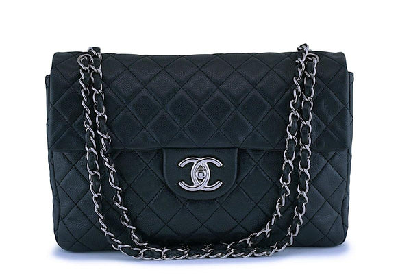 "Rare Chanel Black Soft Caviar Maxi ""Jumbo XL"" Classic Double Flap Bag SHW"