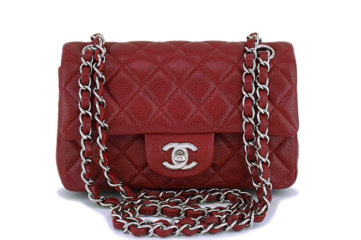 37ede11112c2e7 Chanel Dark Red Caviar 2-strap Rectangular Mini Classic Flap Bag ...