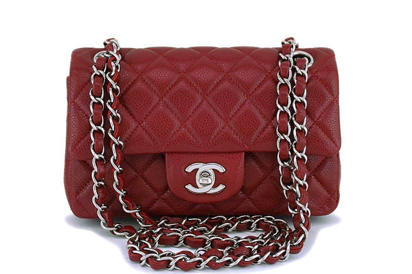 Chanel Dark Red Caviar 2-strap Rectangular Mini Classic Flap Bag SHW