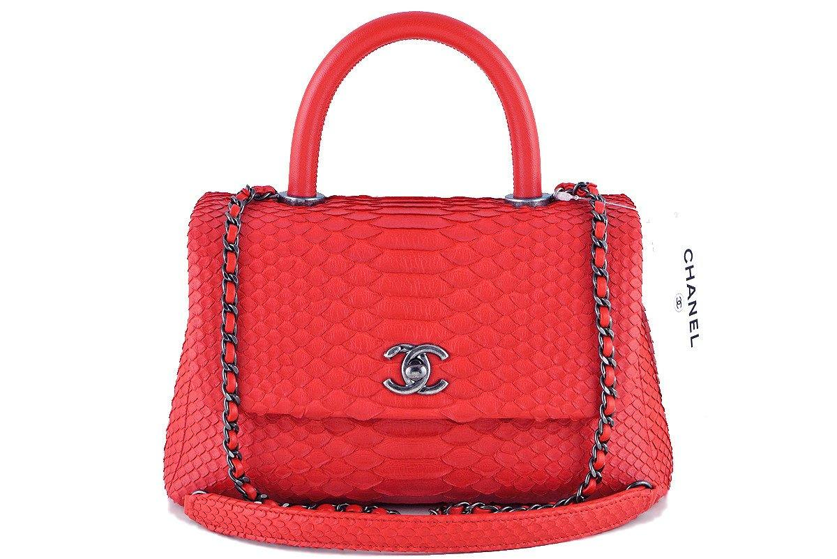 NWT 16S Chanel Red Python Coco Handle Small Classic Flap Bag