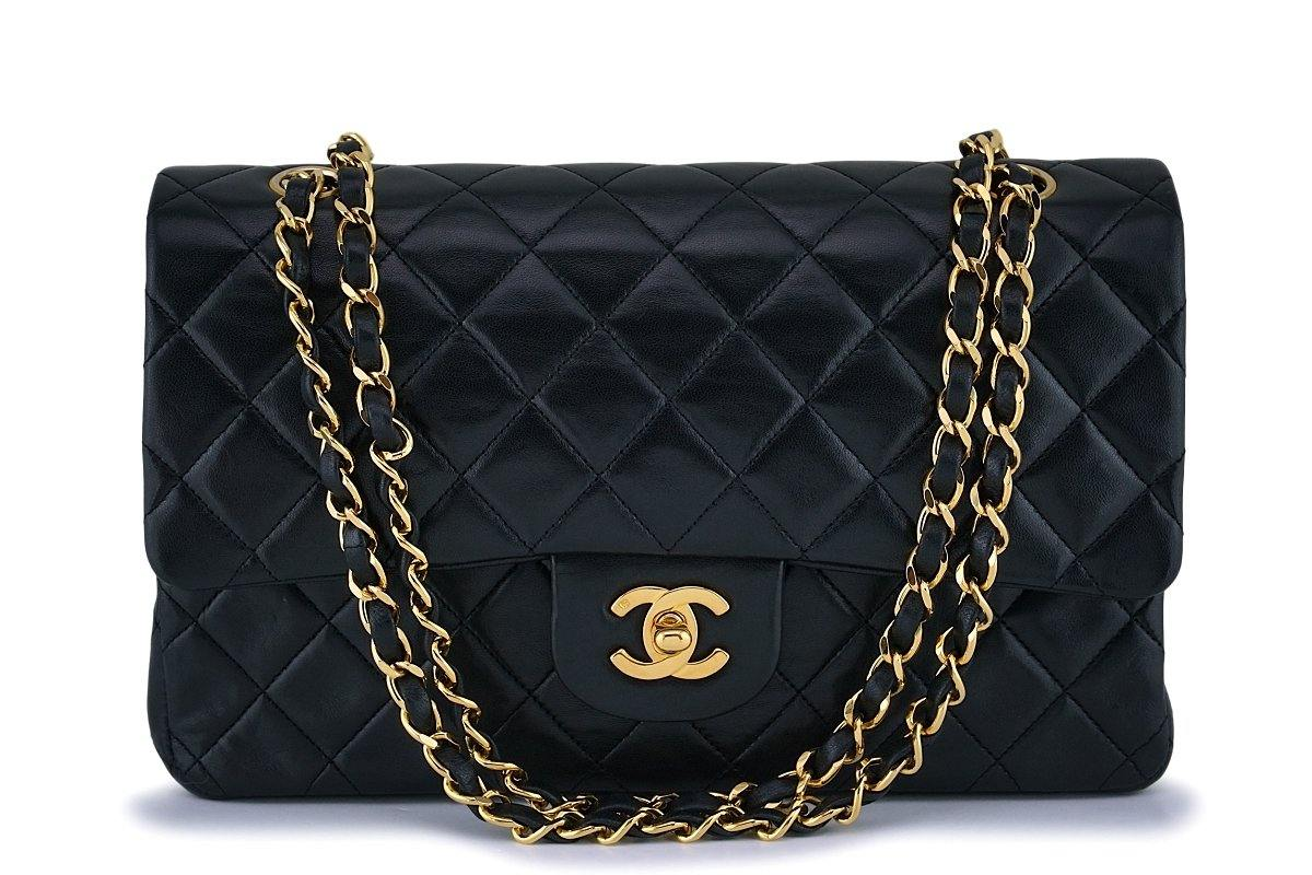 Chanel Black Medium Classic Double Flap Bag 24k GHW
