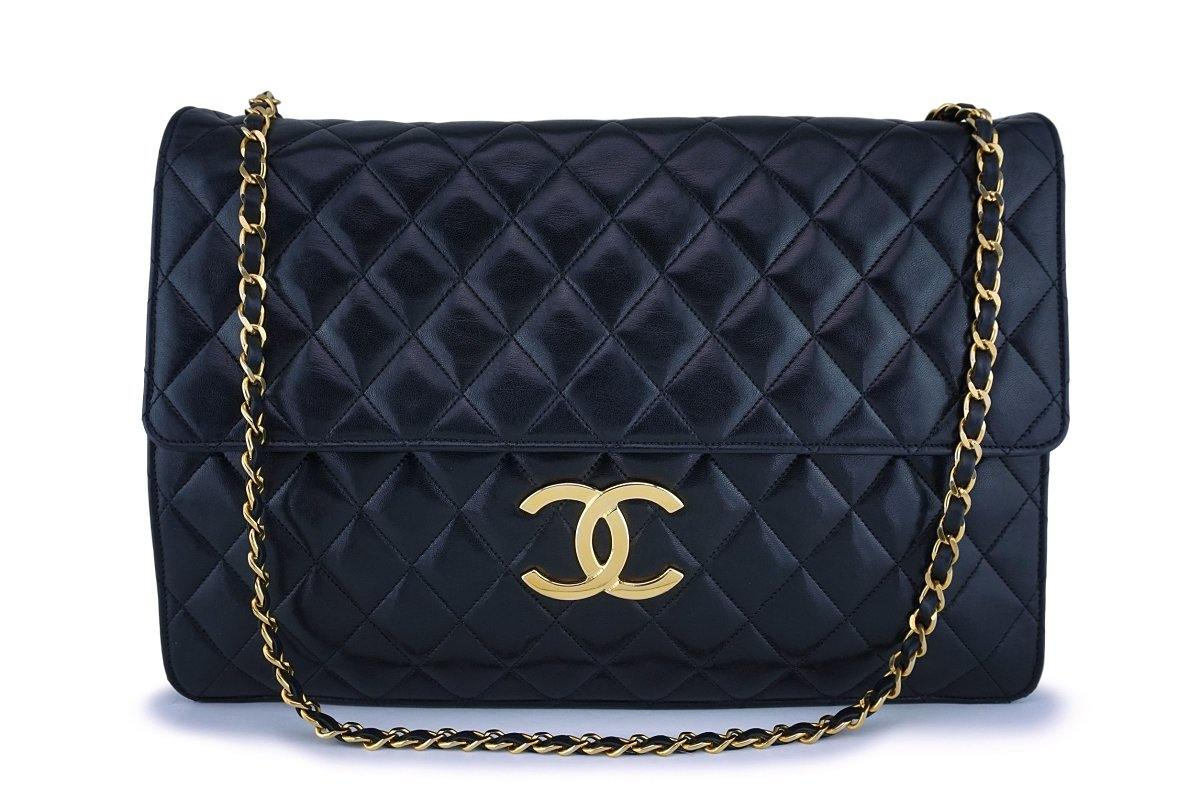 Rare Chanel Vintage Black Classic XXL Classic Flap Clutch with Chain Bag