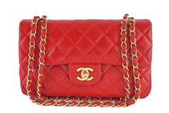 Chanel Red Lambskin Medium-Small Classic 2.55 Double Flap Bag - Boutique Patina  - 1