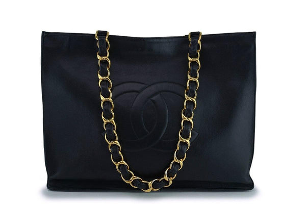 Chanel Vintage Black Grand Chunky Chain GST Shopper Tote Bag