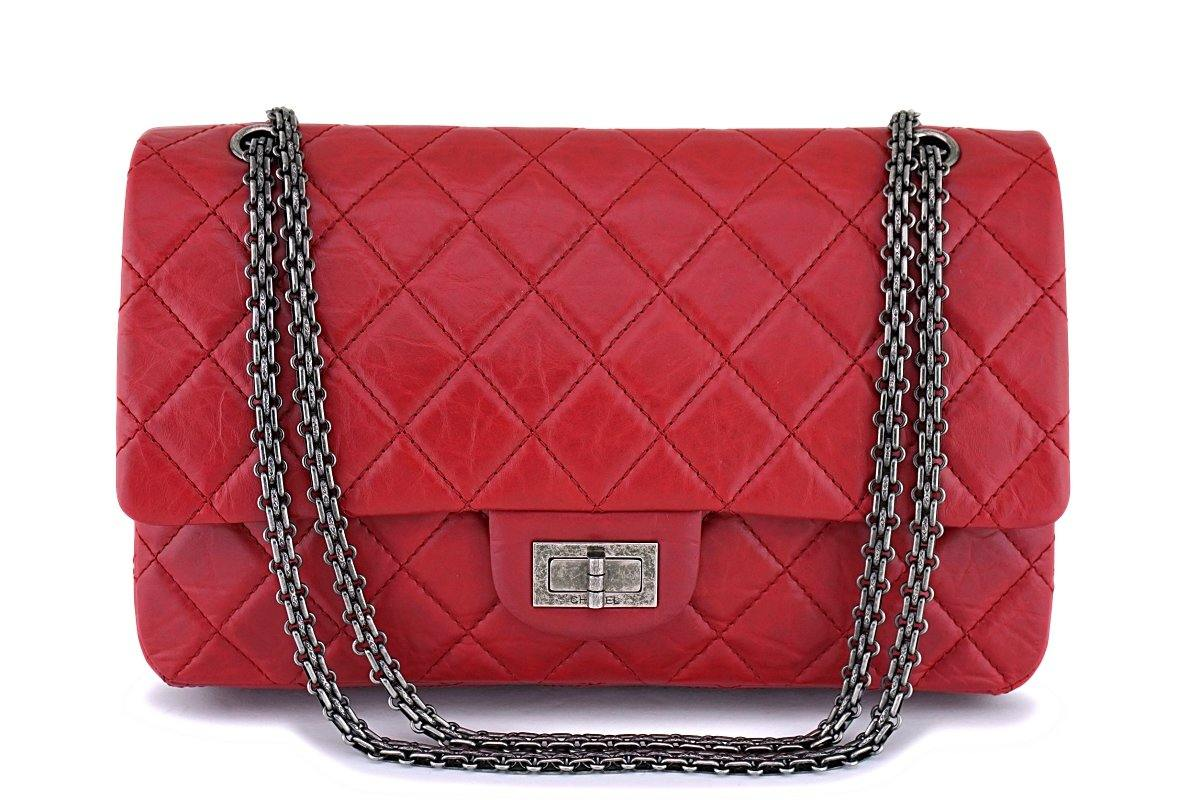 Chanel Red 227 Large 2.55 Reissue Double Flap Bag RHW