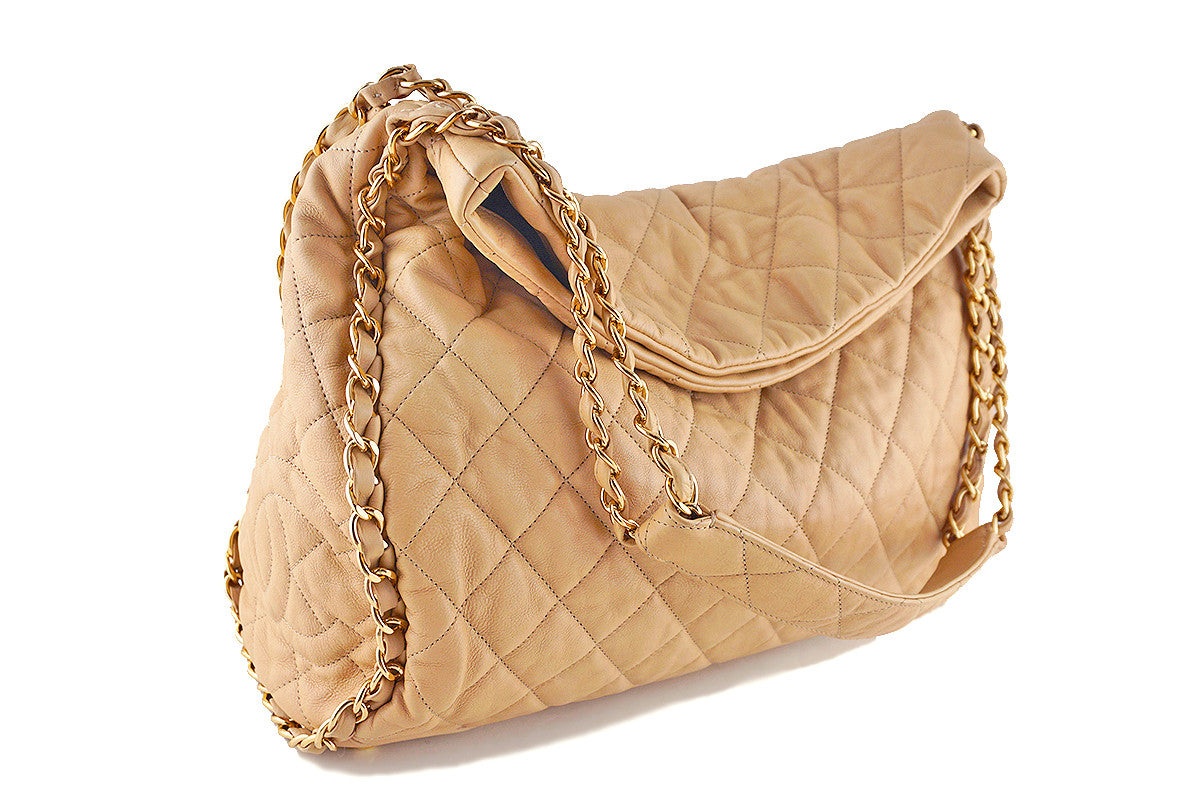 Chanel Beige Large Quilted Ultimate Soft Chain Around Hobo Tote Bag