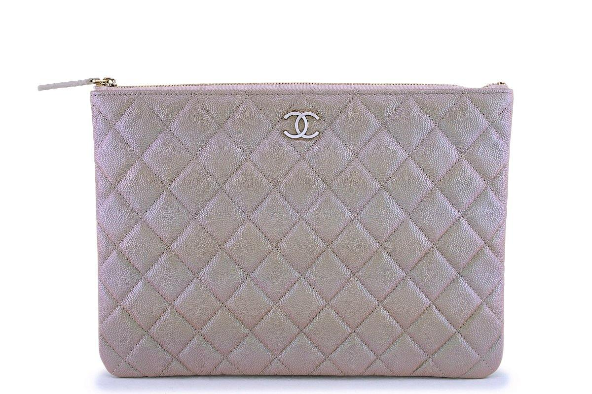 NIB 19S Chanel Iridescent Beige Pearly CC Medium O Case Clutch Bag