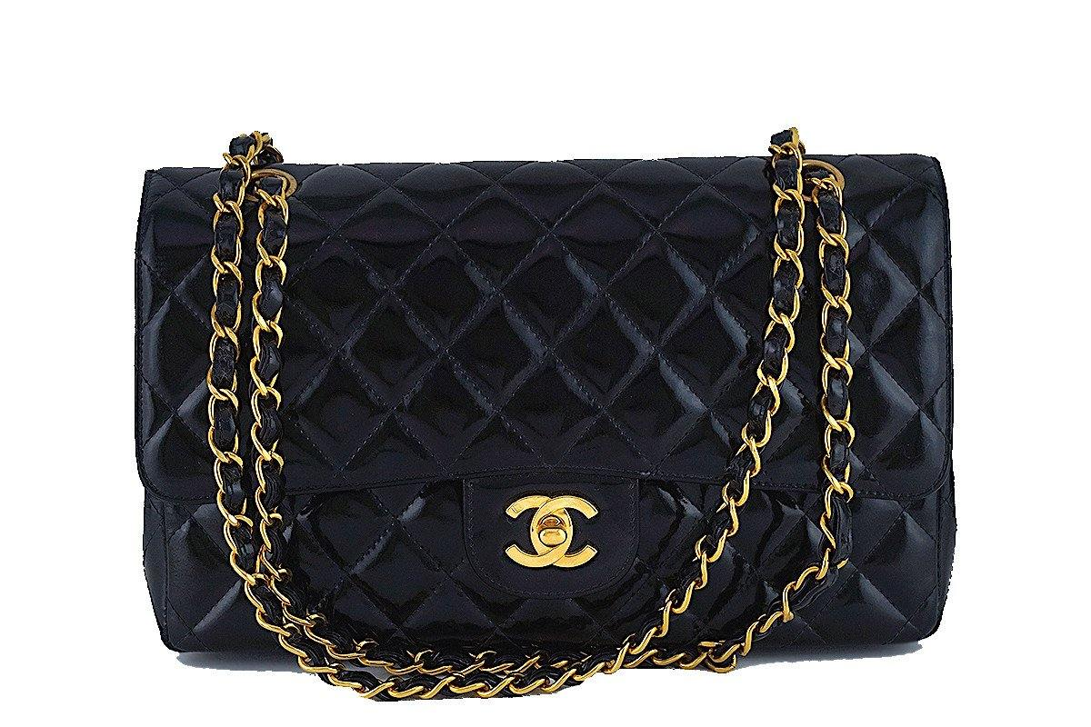 16e466918b30b Chanel Black Patent Quilted Classic Medium 2.55 Double Flap Bag