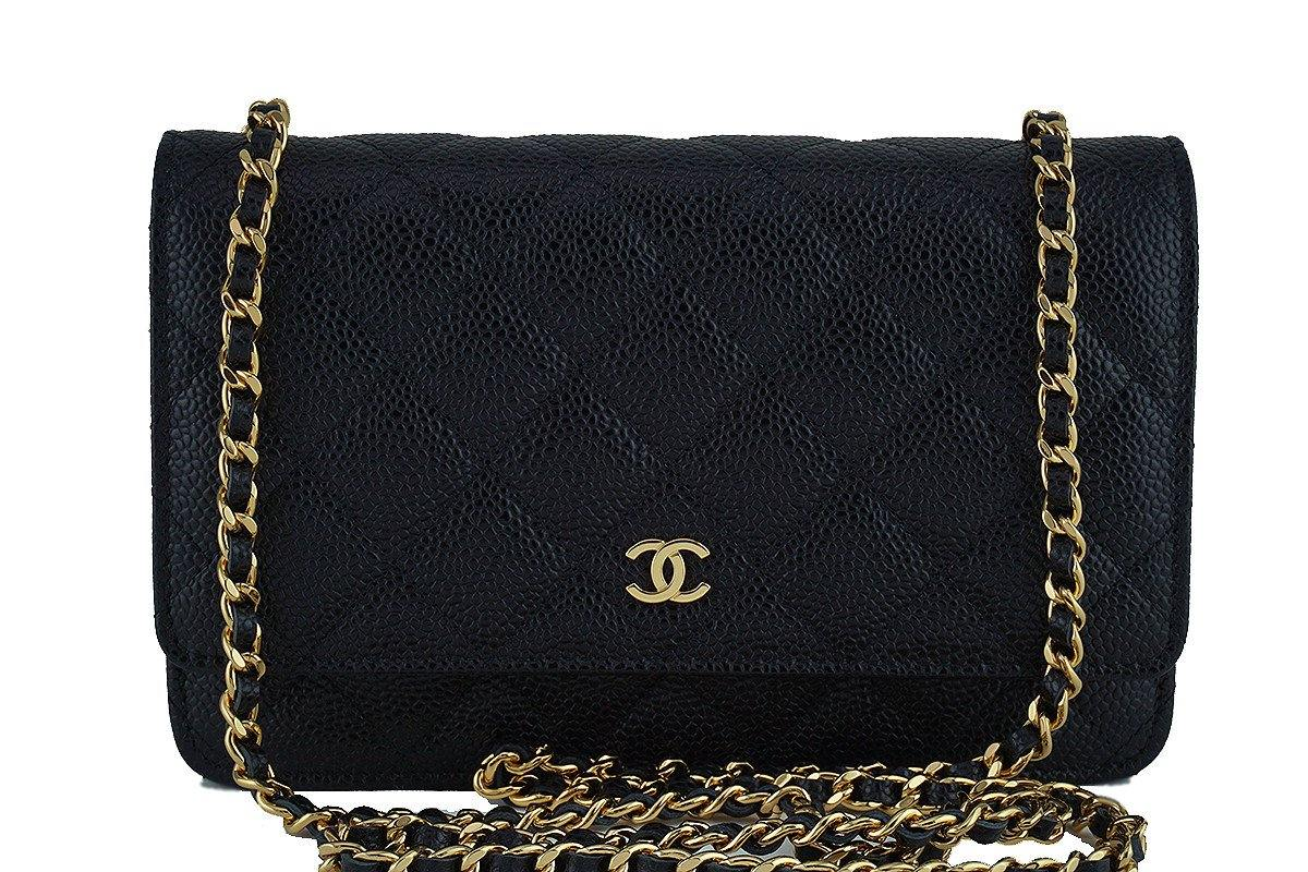 NIB Chanel Caviar Black Classic Quilted WOC Wallet on Chain Flap Bag, GHW