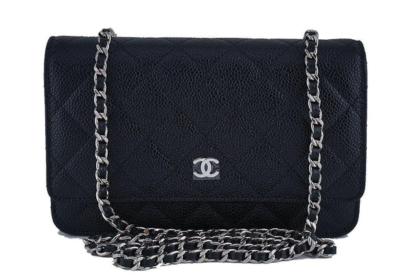 NIB Chanel Black Caviar Classic Quilted WOC Wallet on Chain Flap Bag SHW