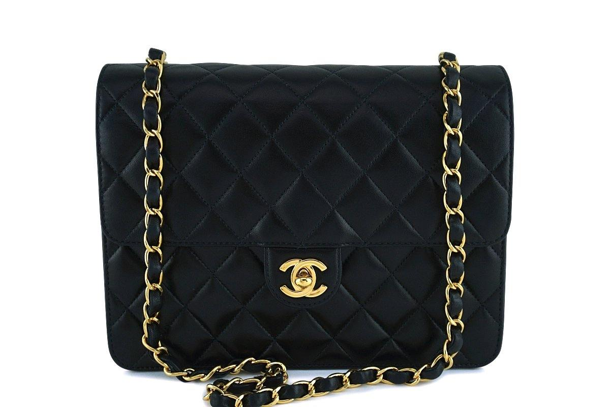 Chanel Black Lambskin Classic Vintage Timeless Flap Bag GHW