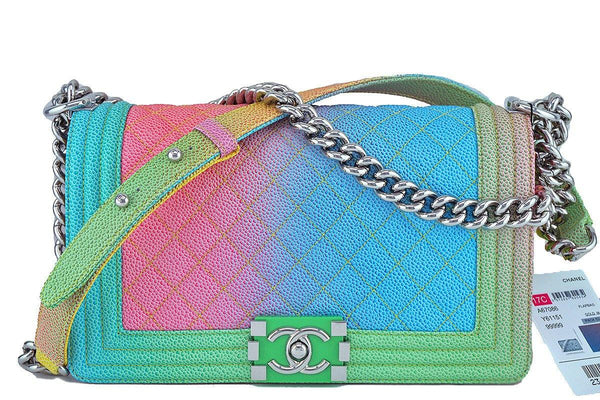 NWT 17C Chanel Medium Classic Boy Flap Cuba Rainbow Caviar Bag