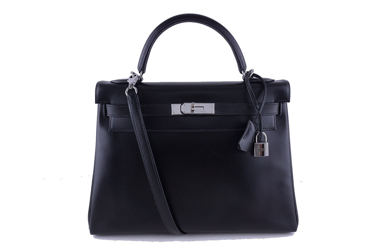 Hermes Black 32cm Box calf Kelly Retourne Bag, Ruthenium HW Rare