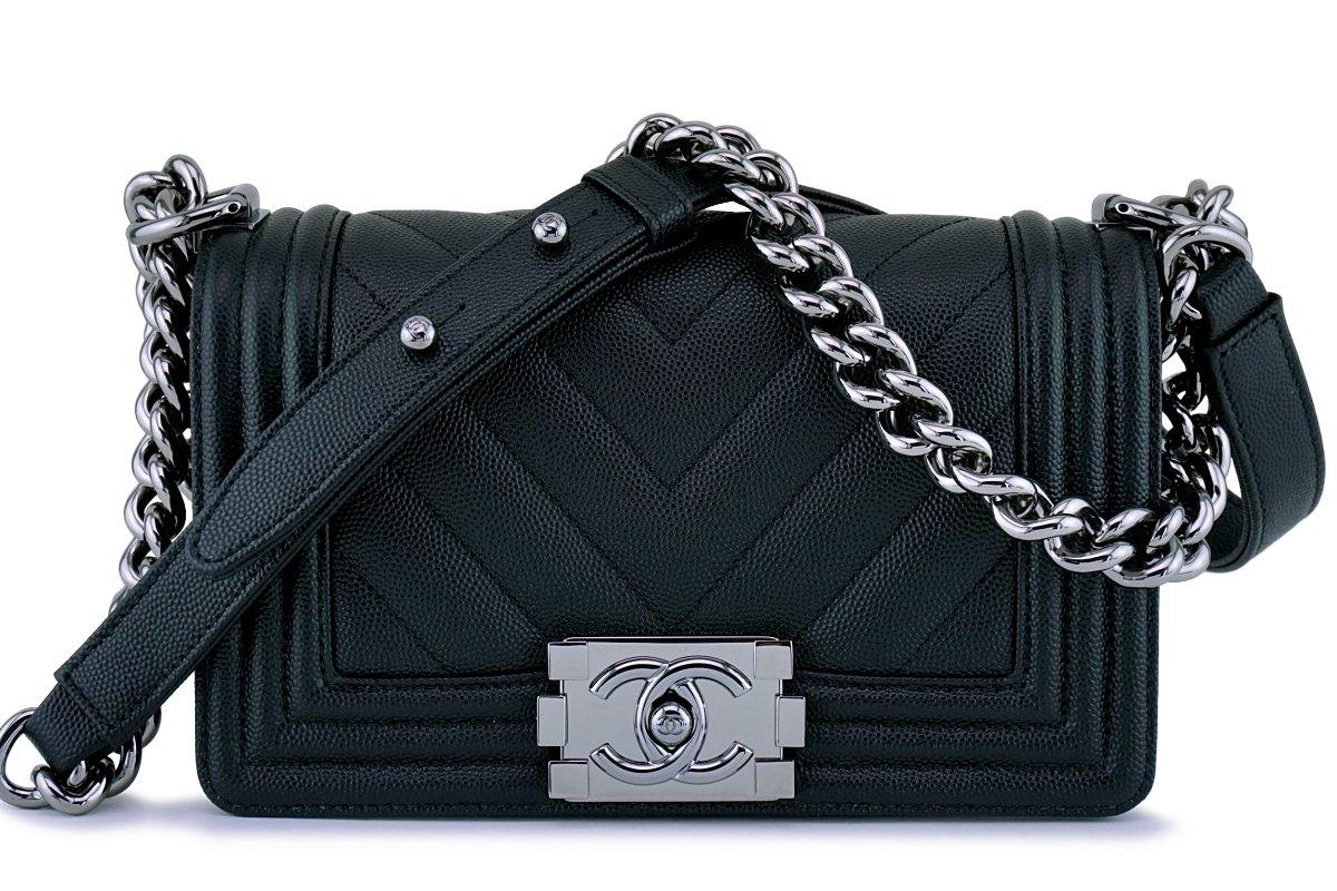 36e031018f68 New 18S Chanel Black Caviar Chevron Small Boy Classic Flap Bag ...