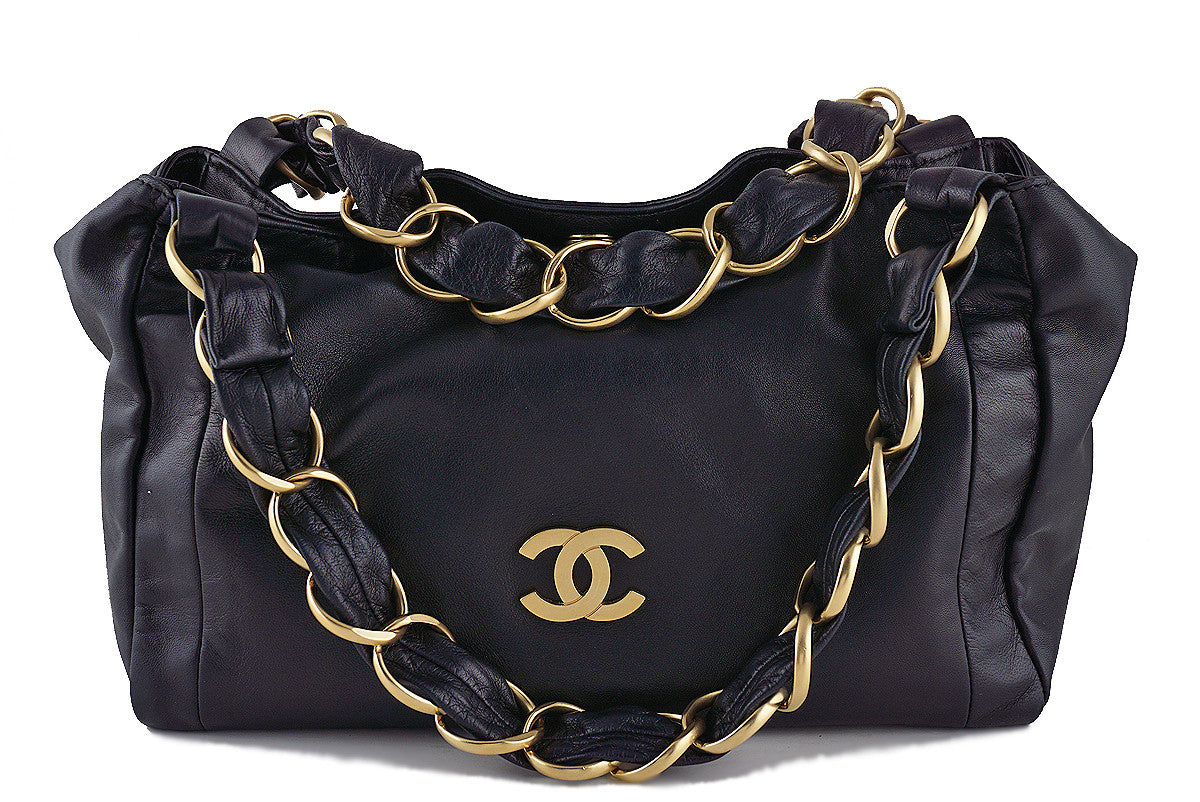 "Chanel Black ""Olsen"" CC Ultra Soft Hobo Shoulder Tote Bag"