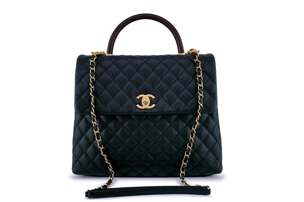 Chanel Black Caviar/Lizard Coco Handle Shoulder Flap Kelly 2-Way Tote Bag