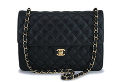 Chanel Vintage Black Lambskin Timeless Classic Clutch on Chain Flap Bag 24k GHW