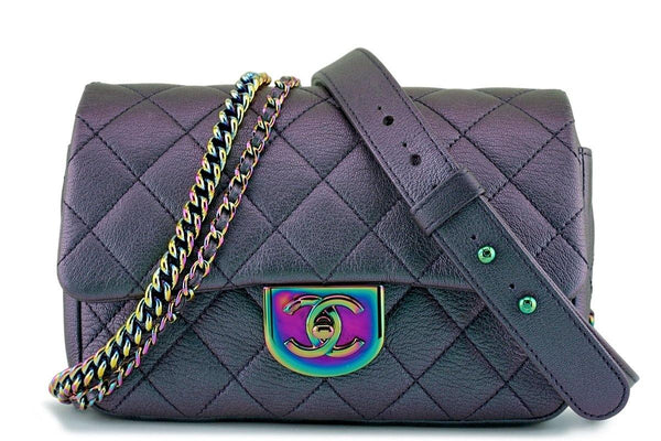 592c9f0ba340 16C Chanel Purple Iridescent Purple Double Carry Classic Flap Bag