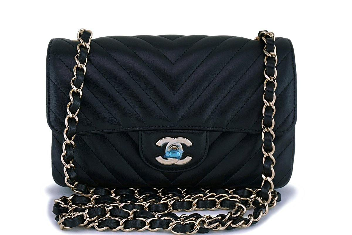 9c15a16d4cb9 NIB 19C Chanel Black Lambskin Chevron Rectangular Classic Mini Flap Ba