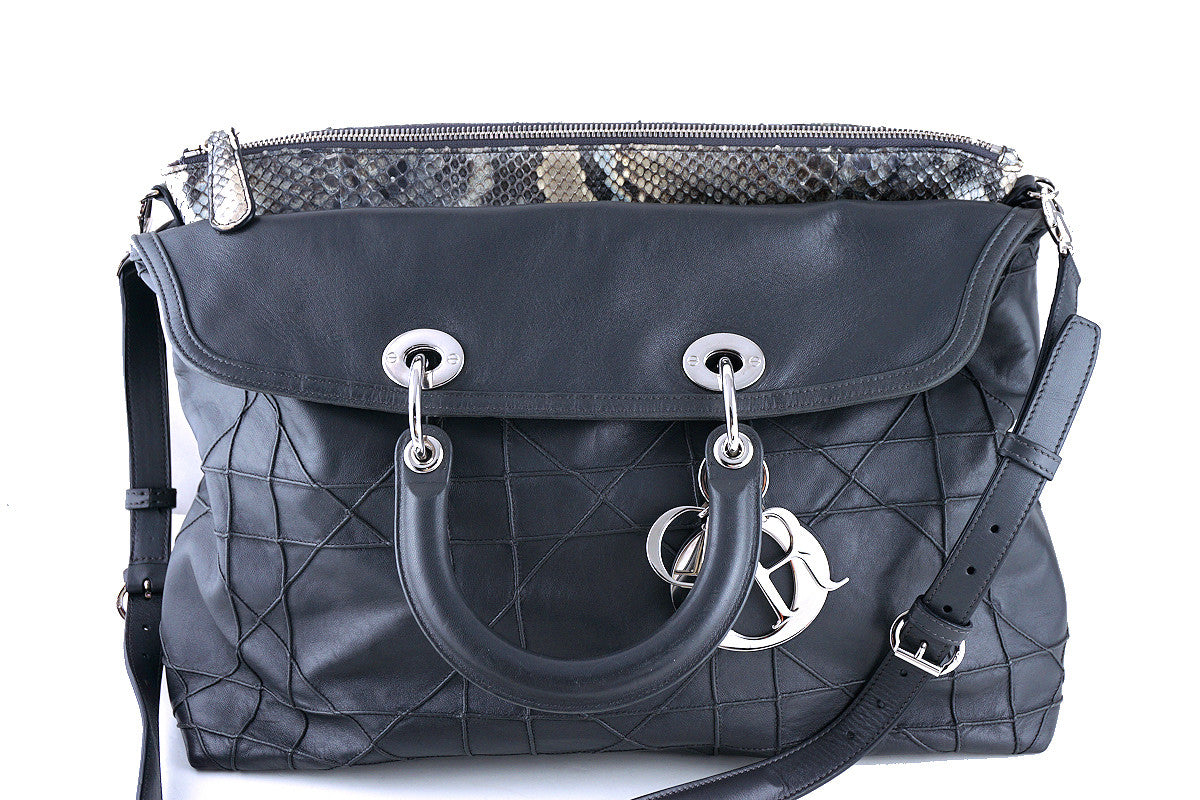 Limited Christian Dior Large Granville Python Gris Fonce Gray Messenger Tote Bag