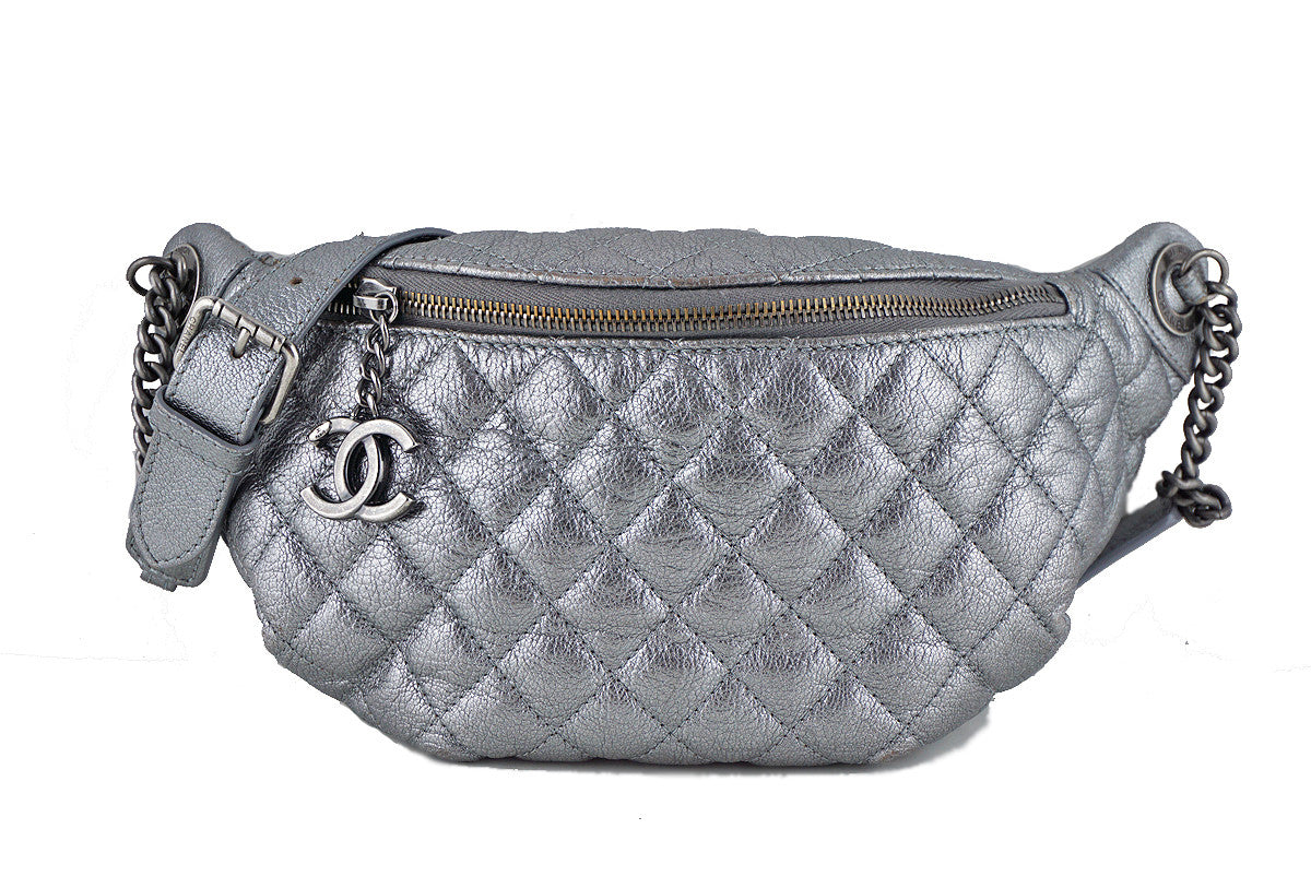 Chanel Silver Quilted Classic Fanny Pack Bag