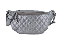 Chanel Silver Quilted Classic Fanny Pack Bag - Boutique Patina  - 1